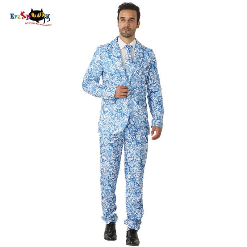 流行 2018 ブルー花スーツ男性ハロウィン衣装ブレザーコスプレファッションウェディングスーツカーニバルパーティークラブ  グループ上の ノベルティ & 特殊用途 からの クリスマスコスチューム の中 1