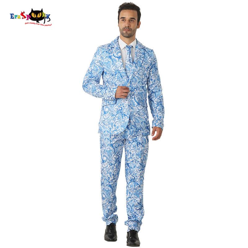 CRAZE 2018 Blue Floral Suits Men Halloween Costumes Blazer Cosplay Fashion Wedding Suits Carnival Party Club Outfit