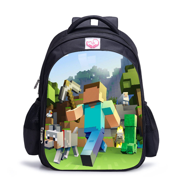 32 17 42cm Agers Cartoon Minecraft Backpack School Bag Primary Book Bags For Boys