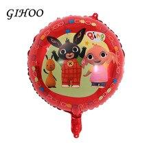 10 Uds 18 pulgadas Bing Foil globo dibujos animados conejo Globos tema fiesta de cumpleaños papel de aluminio helio globo decoración Globos