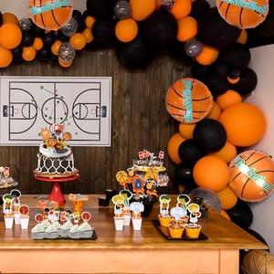 Image 1 - Баскетбольный мяч вечерние принадлежности Оранжевый латексные воздушные шары на день рождения вечерние украшения детский баскетбольный мяч для взрослых арка для воздушных шаров Babyshower для маленьких мальчиков