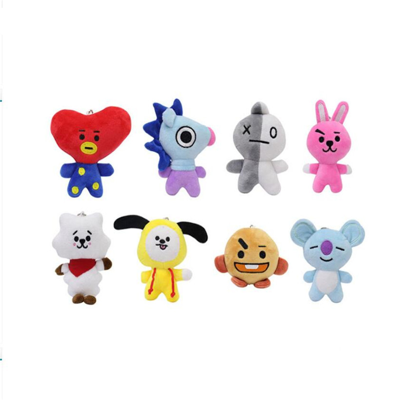 10 CM New Kpop BTS Bangtan Boys Fans Club Bt21 Key Chain Anime Plush Dolls Cartoon