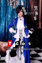 Cosplay negro mayordomo ciel phantomhive unisex azul de noche dress rode vestido trajes de anime