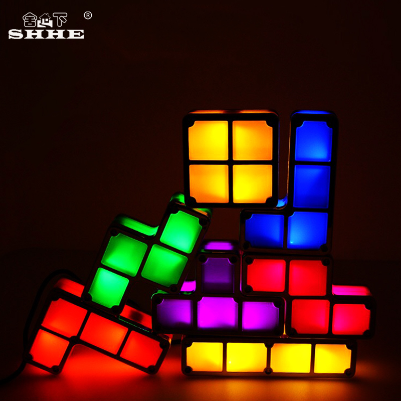 DIY Tetris Puzzle Light Constructible Block Stackable LED