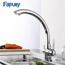 Латунный хромированный 3 Way мойки Кухня кран очиститель воды кран Две ручки фильтр Водопроводной воды Кухня раковина кран