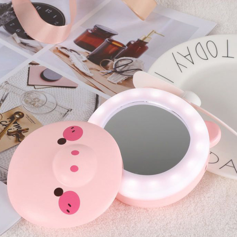 Mini Portable Fan With LED Fill Light Makeup Mirror USB Charging Handheld Fan Holiday Gift_WK