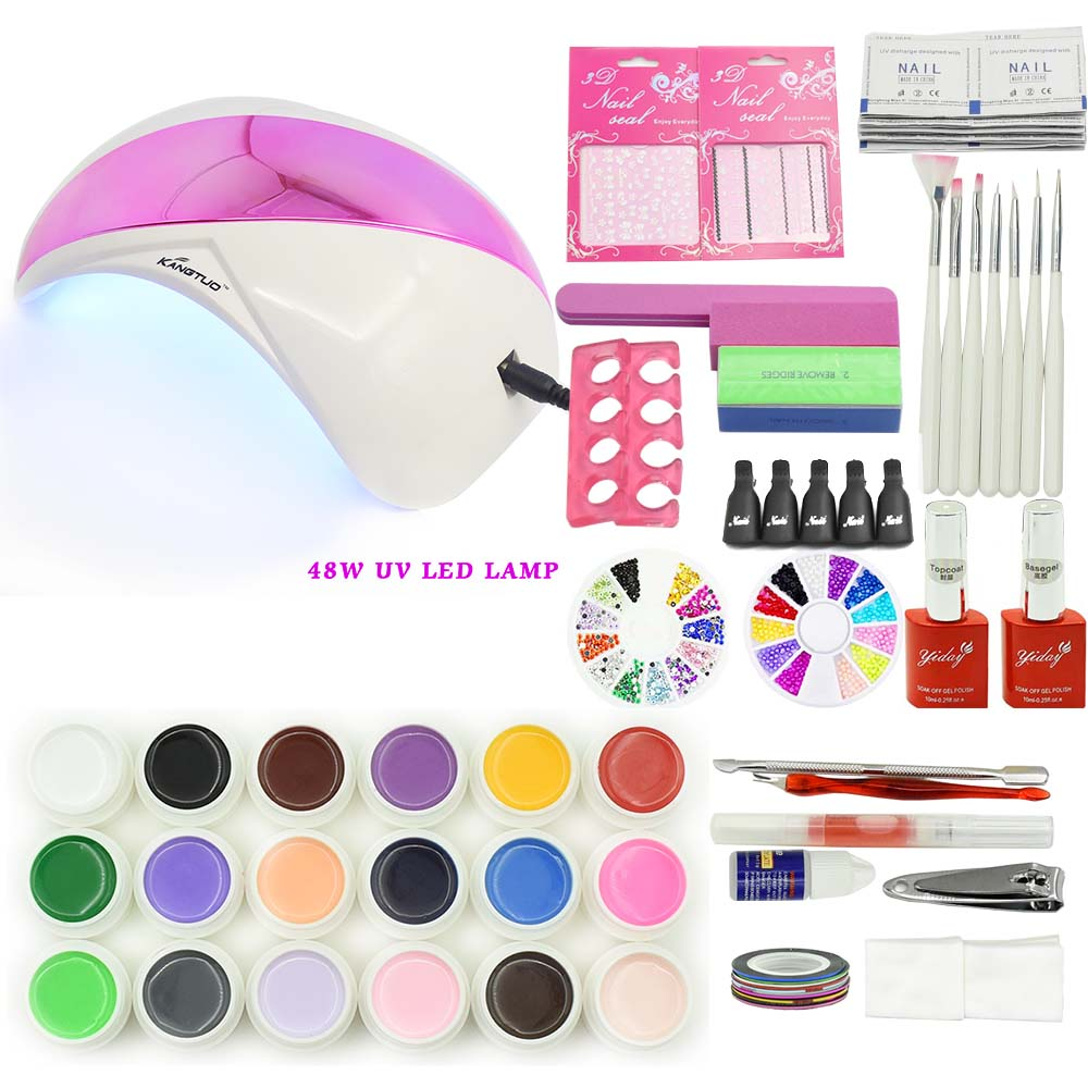 nail set manicure tools 18 pieces nail gel 48W K1 UV LED LAMP with base gel top  coat polish gel varnishes with sticker remover 20pcs gel nail primer top coat and base coat magnetic gel cat s eyes gel nail gelfor uv gel polish best on 15ml nail sticker