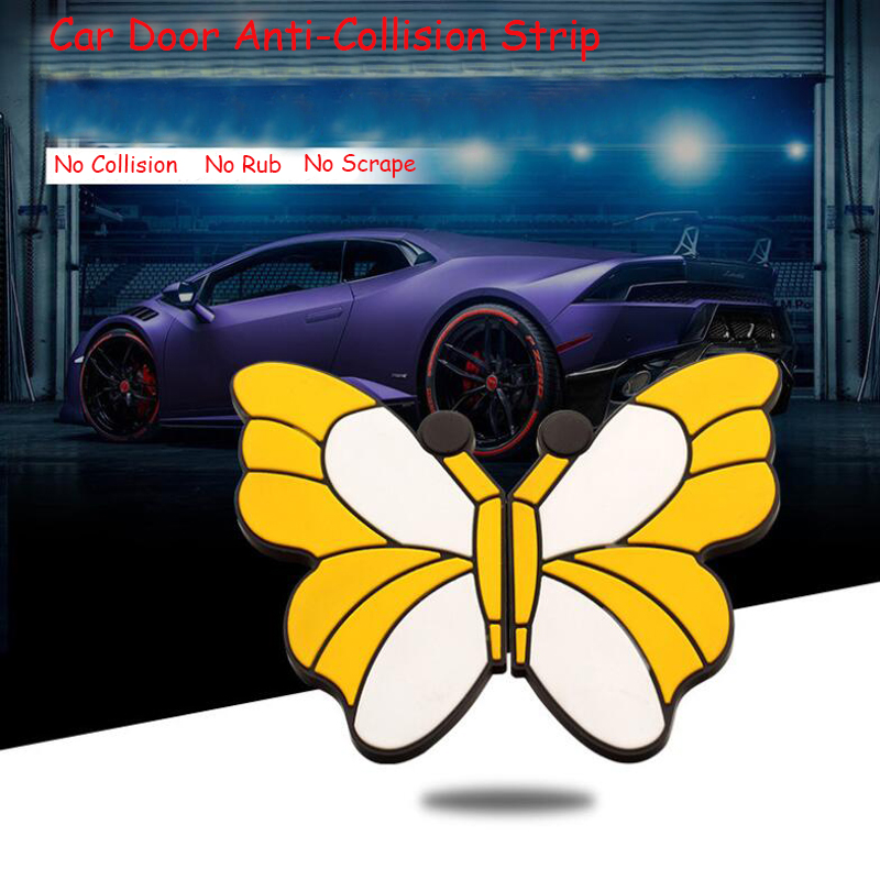 Butterfly Rubber Car Door Edge Anti-Collision Strip Stickers Universal Anti-Friction Protection