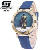 New Guote Vintage Watch Women Popular Elegant Color Leather Strap Retro European Knight Armor Roman Number
