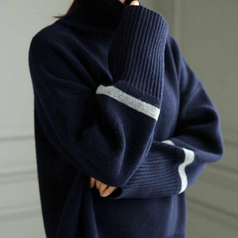 2019 새로운 가을, 겨울 캐시미어 울 스웨터 여성의 높은 칼라 느슨한 따뜻한 두꺼운 스웨터 풀오버 양모 바닥 셔츠