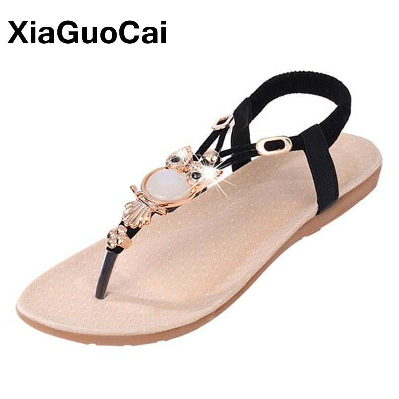 New Bohemia Vintage Women Sandals Summer Female Flip Flops Big Size Casual Flats Beaded Women Beach Shoes Thong covoyyar 2018 fringe women sandals vintage tassel lady flip flops summer back zip flat women shoes plus size 40 wss765