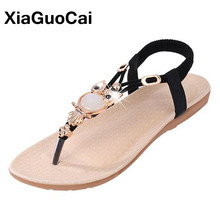 New Bohemia Vintage Women Sandals Summer Female Flip Flops Big Size Casual Flats Beaded Women Beach Shoes Thongs Ladies Slipper new summer leisure leaf women flip flops shoes flame beach ladies flats sandals silver red black