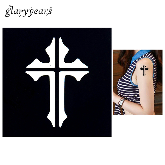1pc henna stencil cross jesus picture sexy women body finger neck face art tattoo template diy. Black Bedroom Furniture Sets. Home Design Ideas