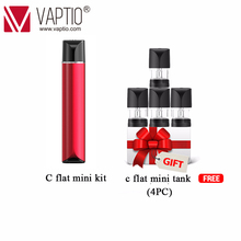 Vape POD Vaptio C-FLAT MINI KIT 260mAh E cigarette Vaporizer Pen 9W MINI Vapor kit 1.3ml Atomizer 1.5ohm Ceramic pod coil longmada mr bald alva vape slim cbd starter kit tank cartridge coil vapor mini pod pen electronic cigarette e cig vaporizer