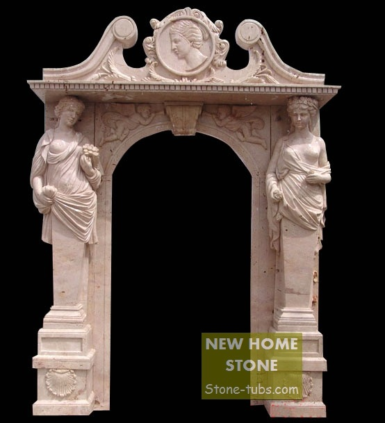 Marble Columns Door Surround Stone Women Figures Sculptures carved garden outside door pink marble hand carved & Marble Columns Door Surround Stone Women Figures Sculptures carved ...