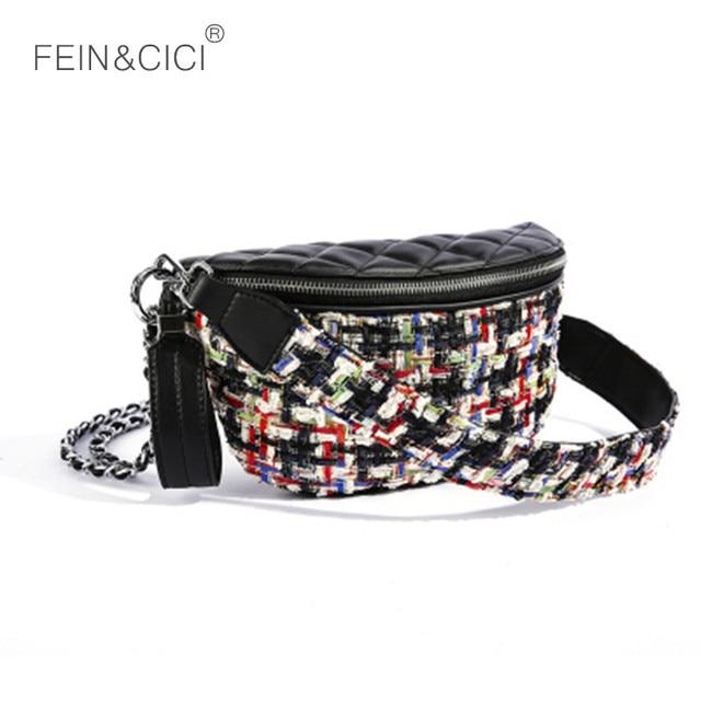 Waist bag women Fanny Packs tweed chains belt bag brand Waist Pocket knitted handbag lady check plaid bags 2018 new high quality