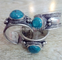 7 pcs High Quality Retro Style Tibet Silver Carved Lace stone Stone Bead Nepal Ring Adjustable Unisex Free Shipping