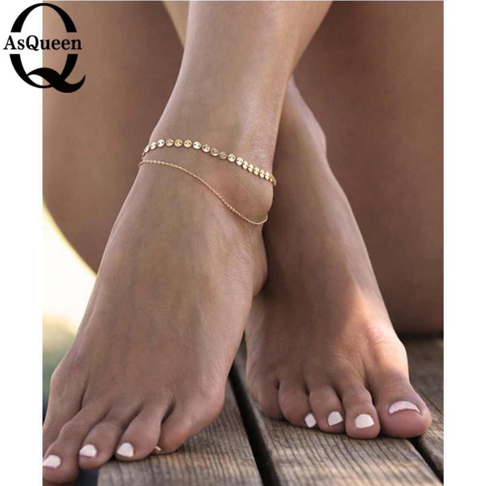 ゴールドシルバー足首チェーンスパンコールアンクレットファッションフットジュエリーブレスレット足にアンクレット
