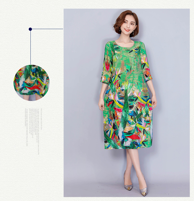 64218c431f 2019 New Free Shipping Fashion Summer New Dress Sleeve Shot Silk Female  Loose Slim Women Work Wear Long Dresses Green Slim