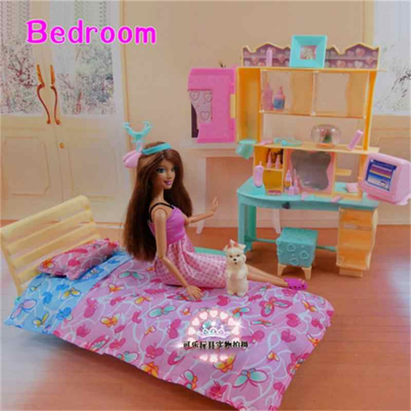 For Barbie Doll Furniture Accessories Plastic Toy Bedroom Bed Sheet Pillow Table Chair Cabinet Computer Play House Gift Girl DIY