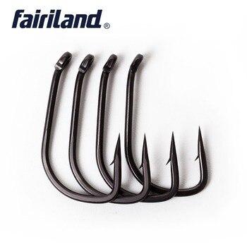 100 قطع fairiland الكارب الصيد السنانير TFSH-B الخطافات مع الشائكة 2 #4 #6 #8 #10 # تفلون المغلفة عالية الكربون الصلب الأسود الأسماك هوك