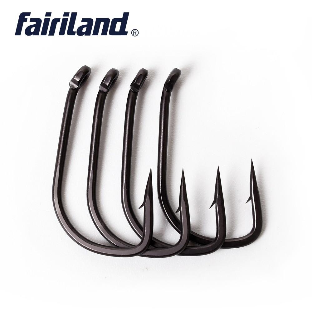 100Pcs fairiland carp fishing hooks TFSH B fishhooks with barbed 2 4 6 8 10 Teflon