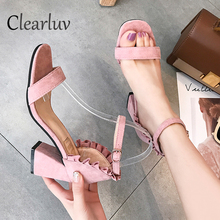 Women Sandals Plus size 35-40  Strap shoes Mujer Thick high heels Gladiator Pumps 7CM sandals