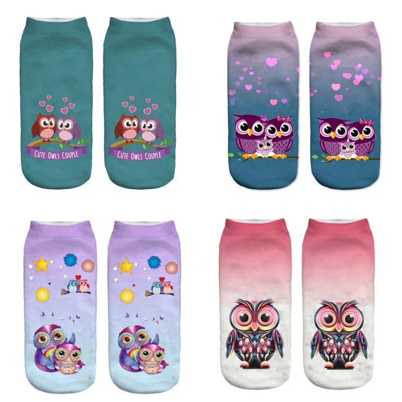Dreamlikelin 3D Print Cute Owls Couple Kakwii Owl Family Woman Socks Casual Women's Funny Anklets Socks