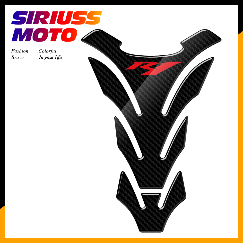 3D Carbon Look Motorcycle Tank Pad Protector <font><b>Stickers</b></font> Case for Yamaha YZF-<font><b>R1</b></font> <font><b>R1</b></font> Tank image