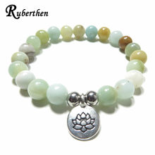 Ruberthen Namaste Wrist Mala Lotus Bracelet Natural Amazonite Meditation Healing Bracelet Mala Bracelet for Birthday Gift