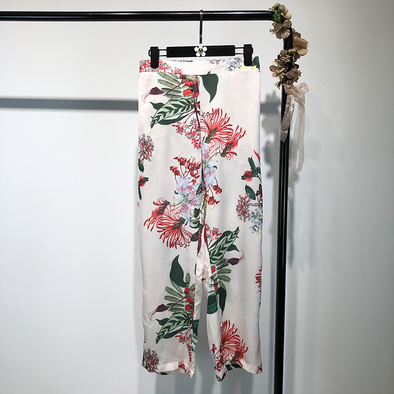 Fashion suit female European and American style retro floral long-sleeved round neck shirt+high waist wide leg pants suit female