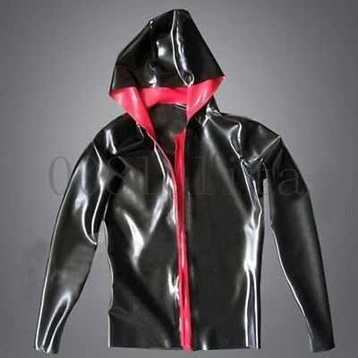 100% Latex Rubber Knappe casual HOODED SWEAT jasje Maat XXS-XXL