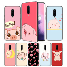 Piggy cute pig Lovely Soft Black Silicone Case Cover for OnePlus 6 6T 7 Pro 5G Ultra-thin TPU Phone Back Protective