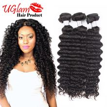 Uglam hair Unprocessed 3 Bundles Deep Wave 100% Human Hair Brazilian Virgin Hair MS Lula Hair No Tangle And No Sheddind