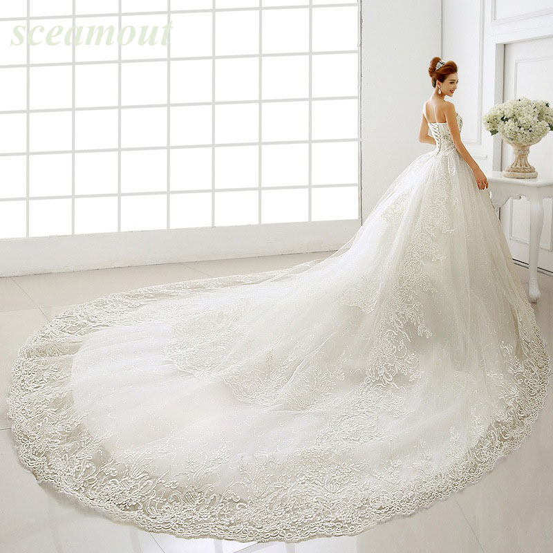 Luxury Bridal Wedding Gown Sweetheart Sparkly Bling Crystal Diamond Cathedral/Royal Train Tail Wedding Dress Vestito Da Sposa