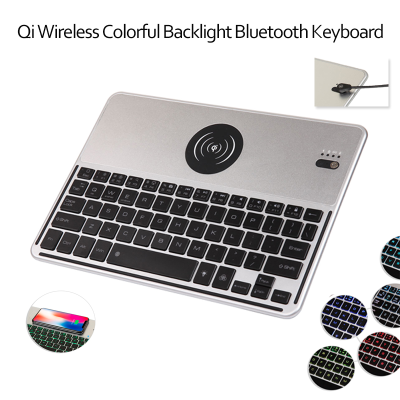 Universal QI Wireless Bluetooth Keyboard Wireless Charger Function For All Tablet Backlight Ultra Thin Keyboard Case+Stylus universal 61 key bluetooth keyboard w pu leather case for 7 8 tablet pc black