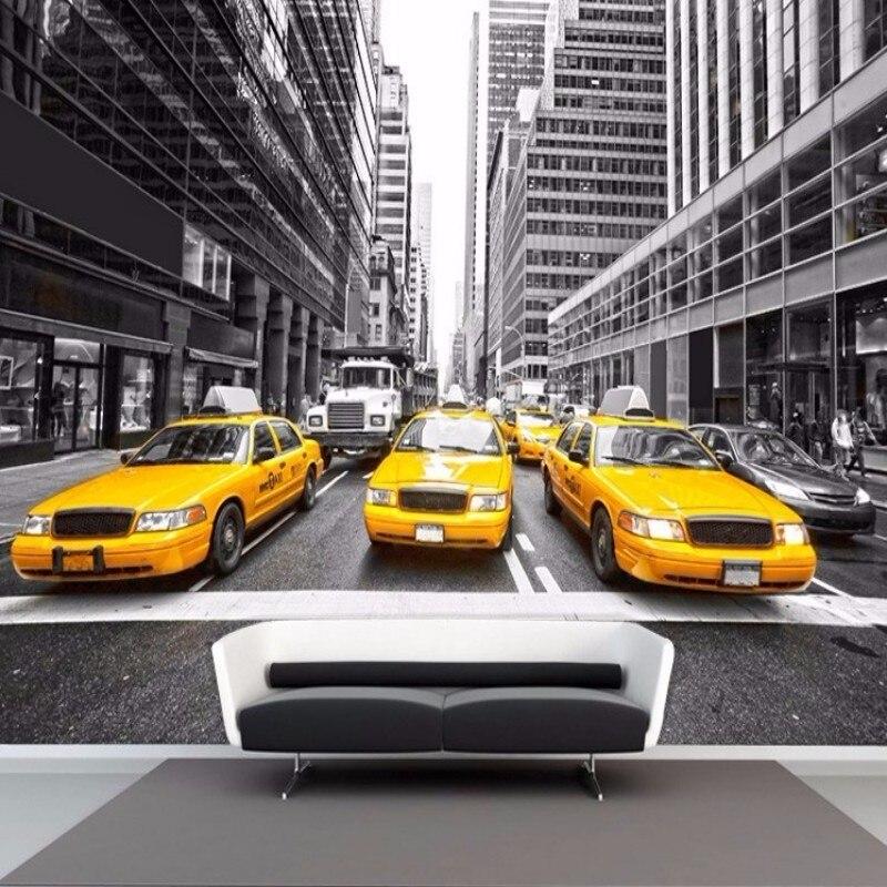 Beibehang Custom Wallpaper Black And White Street Yellow Car