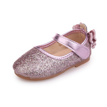 Mumoresip Glitter Leather Girls Shoes Bling Kids Casual Flats With  Butterfly-knot Back Pink Silver e8aa76a239ab