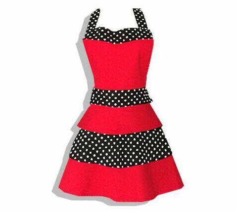 Red Retro Woman Kitchen Apron Cotton Cooking Salon Avental de Cozinha Divertido Pinafore Apron Dress Vintage
