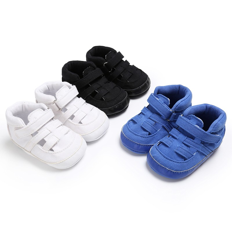 Summer 3 Colors Boys Breathable Solid Color Classic Newborn Baby Kids First Walkers Crib Bebe Padded Soft Bottom Anti-Slip Shoes