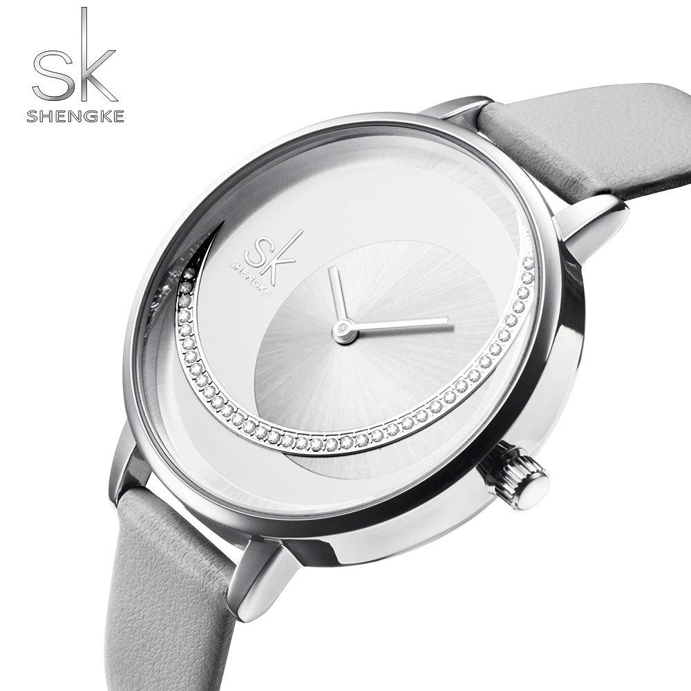 Shengke Top Brand Women's Watch Fashion Luxury Crystal Women Wrist Watch Ladies Watch Leather Band Clock Reloj Mujer 2019 Saati