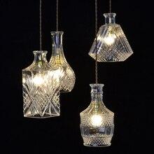 JAXLONG Engraving lustre Glass Wine Bottles Pendant Lamp Nordic Style Home Decr Hanglamp Living Room Bedroom Lighting Lights