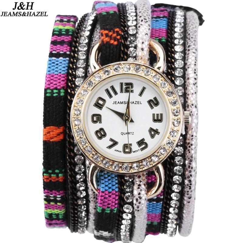 JH 브랜드 전통 전국 긴 패브릭 벨트 크리 에이 티브 시계 팔찌 남성 여성 시계 라운드 크리스탈 여성 시계 라운드