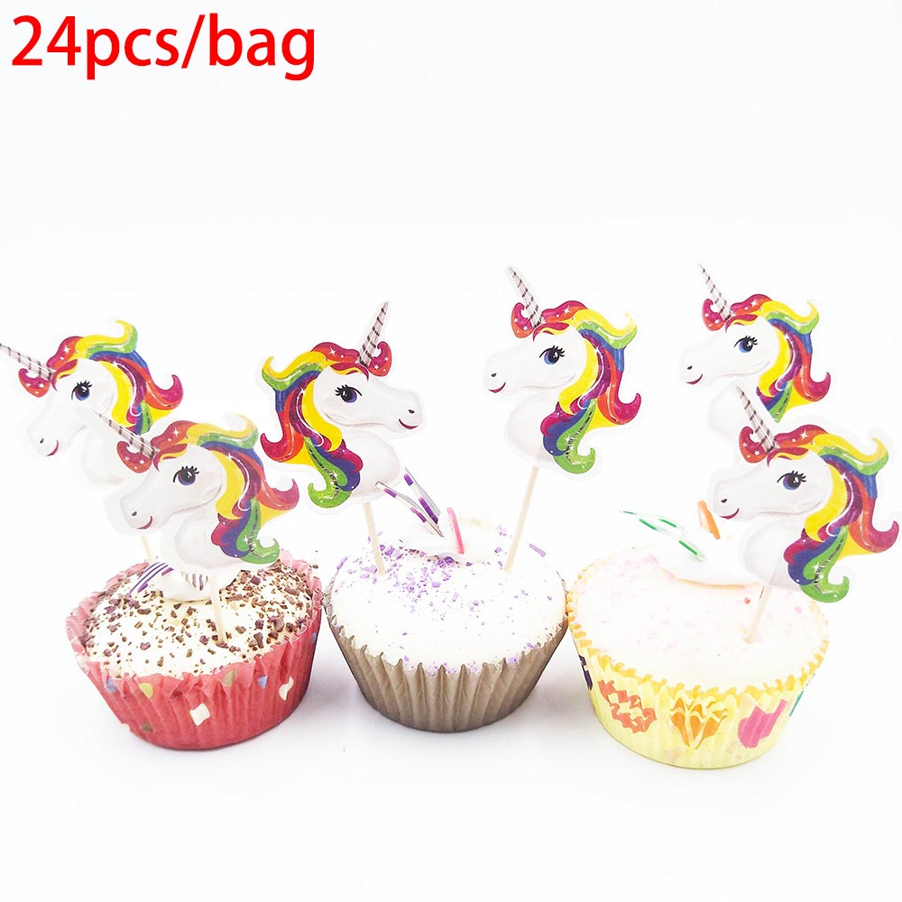 Unicorn Party Supplies Party Cup Plate Banner Hat Straw Loot Bag Fork knive horn Kids Rainbow Balloons Unicorn Party Supplies in Disposable Party Tableware from Home Garden