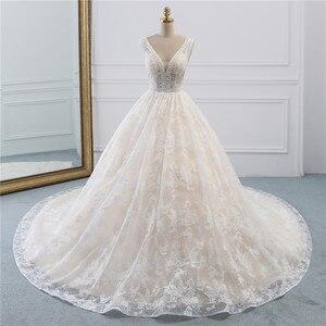 Image 2 - Fansmile Luxury Lace Long Train Ball Gown Wedding Dress 2020 Vestidos de Novia Princess Quality Wedding Bride Dress FSM 524T
