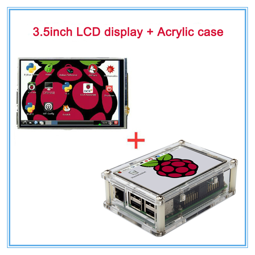 3.5 LCD TFT Touch Screen Display with Stylus for Raspberry Pi 2 Pi 3 + Acrylic transparent Case Free Shipping t050sqh651mt lcd display screens touch screen