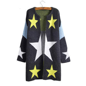 Knitted Sweater Cardigan Vestidos Long-Section Large-Size MMY69119 Foreign-Trade Hot-Selling