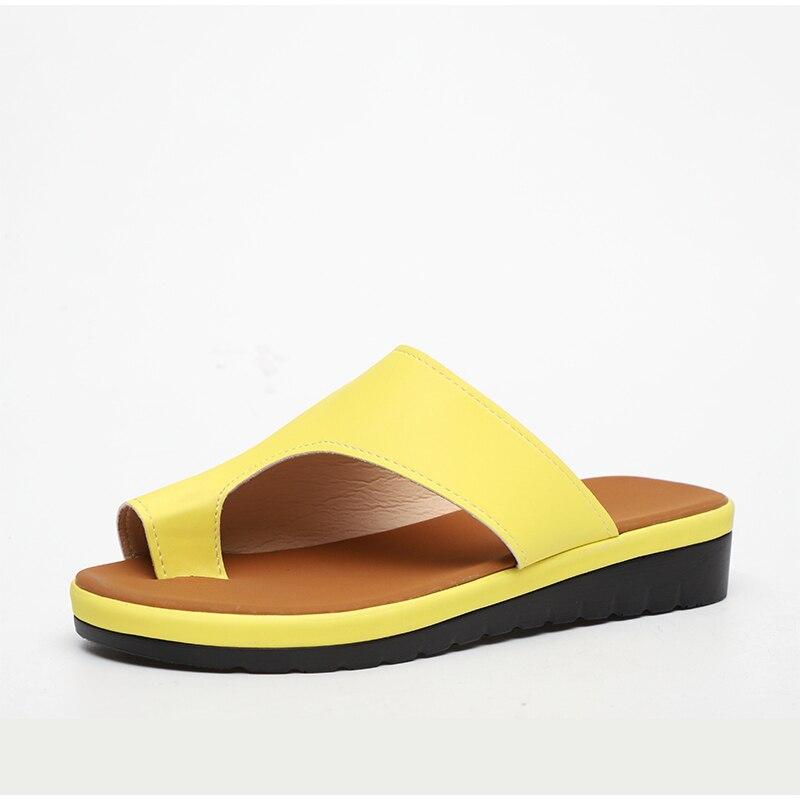 HTB1Eb6IavWG3KVjSZPcq6zkbXXag MCCKLE Women Comfy Plain Shoes Flat Platform Ladies Casual Big Toe Foot Correction Sandals Orthopedic Bunion Corrector Flip Flop