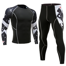 Rashguard MMA Long Sleeve Crossfit Men T Shirt Compression Sportswear Set Thermal Fitness Clothing Tracksuit For