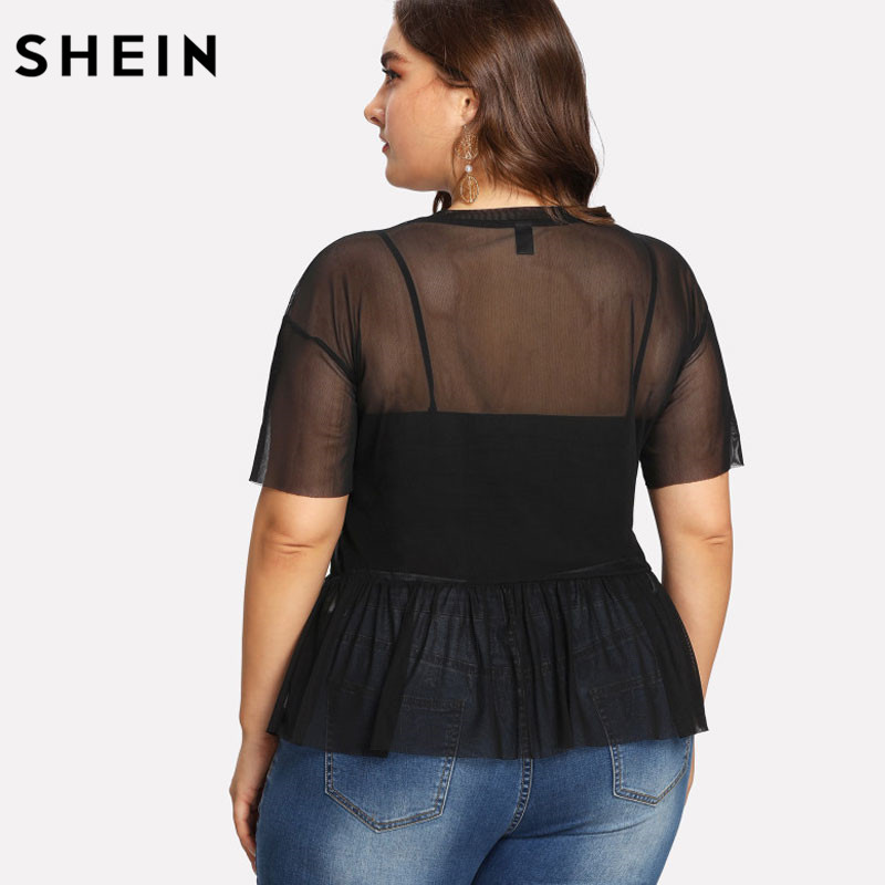 SHEIN Plus Size Summer Black Blouse Women Sexy Floral Round Neck Short Sleeve Embroidered Rose Applique Ruffle Mesh Slim Top 4